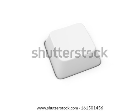 3d blank white keyboard isolated on white background