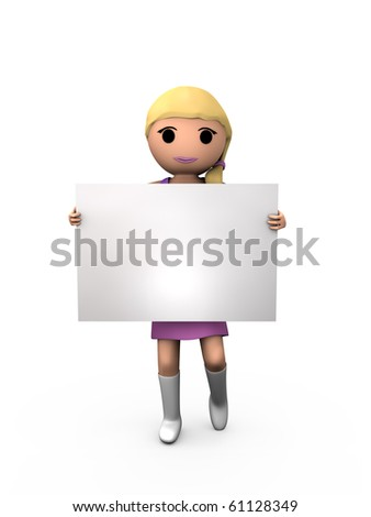 3D Blonde Girl Holding Blank Card Sign Shaded Copyspace - stock photo
