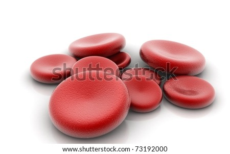 3d blood cells in a white background - stock photo