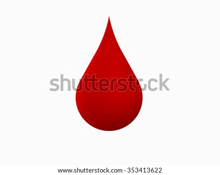 3d blood drop on white background - stock photo