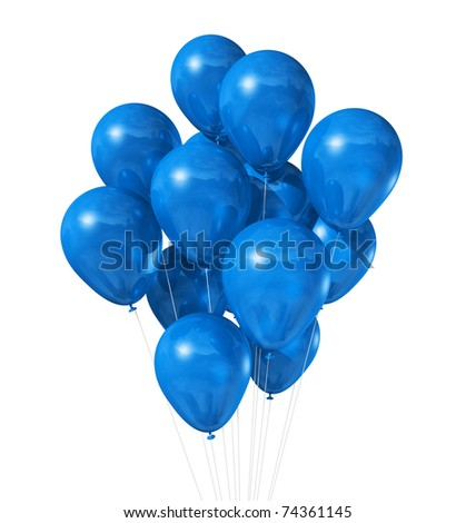 3D blue air balloons isolated on white background