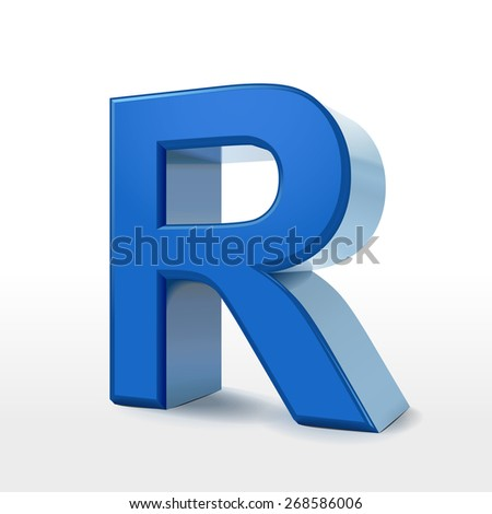 3d blue alphabet R isolated on white background
