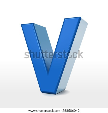 3d blue alphabet V isolated on white background