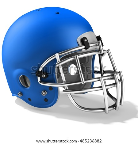 3d Blue American football helmet on a white background