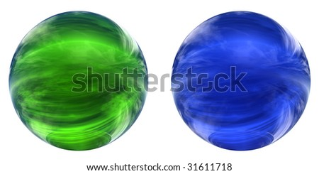 3d blue and green glass spheres collection or set isolated on white background,ideal for 3D symbols, signs or web buttons. It is a sphere reflecting a blue sky with clouds - stock photo