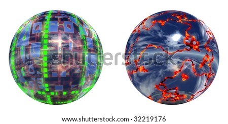 3d blue and green hot silver spheres set or collection burning, isolated on white,ideal for 3D symbols or web buttons - stock photo
