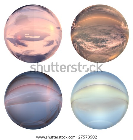 3d blue and orange glass spheres set or collection isolated on white background,ideal for 3D symbols, signs or web buttons. It is a sphere reflecting a blue sky with clouds - stock photo