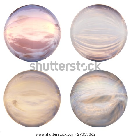 3d blue and pink glass spheres set or collection isolated on white background,ideal for 3D symbols, signs or web buttons. It is a sphere reflecting a blue sky with clouds - stock photo
