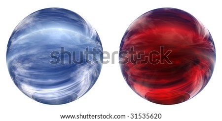 3d blue and red glass spheres collection isolated on white background,ideal for 3D symbols, signs or web buttons. It is a sphere reflecting a blue sky with clouds - stock photo
