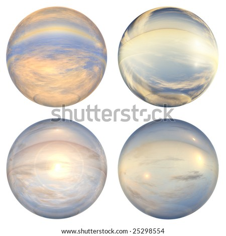 3d blue and yellow glass spheres collection or set isolated on white background,ideal for 3D symbols, signs or web buttons. they are spheres reflecting a blue sky with clouds - stock photo