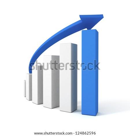 3d blue arrow and success bar chart graph - stock photo