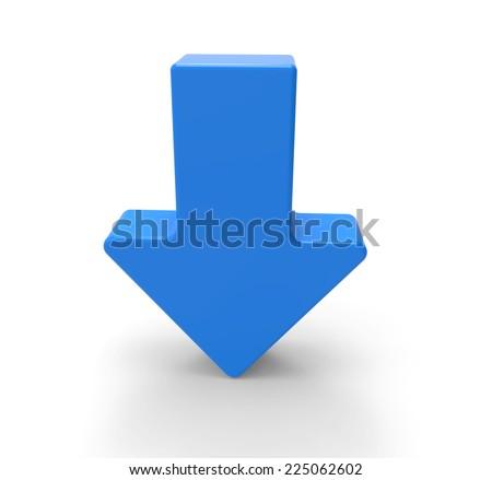 3d blue arrow, downwards - stock photo