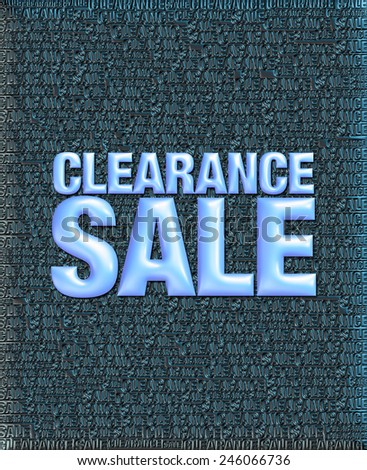 3D blue black background of Clearance Sale with emboss blue text on background   - stock photo
