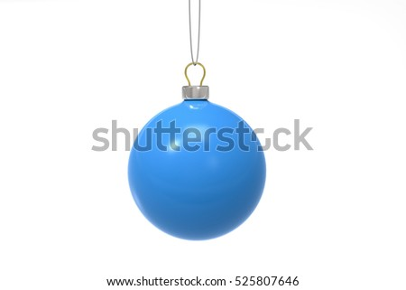 3D Blue Christmas ball on a white background