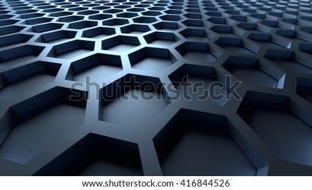 3D blue color abstract cellular lattice background - stock photo