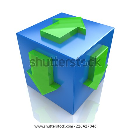 3D blue cube with an arrow pointing the direction