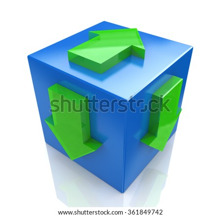 3D blue cube with an arrow pointing the direction. Concept illustration in the design of the information associated with the abstract
