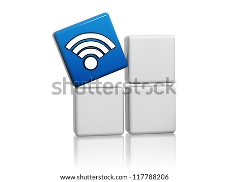3d blue cube with wifi symbol like icon on grey boxes - stock photo