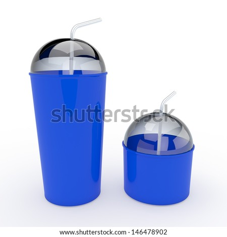3d blue cups and lids, tops and straws 2 sides for container drinks or beverage in isolated background with clipping paths, work paths included - stock photo