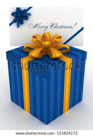 3D blue Gift christmas box with christmas postal, envelope - stock photo