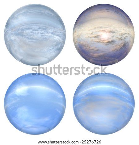3d blue glass spheres collection or set  isolated on white background,ideal for 3D symbols, signs or web buttons. they are spheres reflecting a blue sky with clouds - stock photo