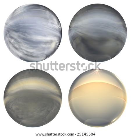 3d blue glass spheres group or collection isolated on white background,ideal for 3D symbols, signs or web buttons. they are a set of  spheres reflecting a blue sky with clouds - stock photo