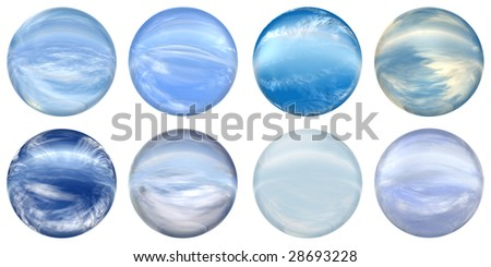 3d blue glass spheres set or collection  isolated on white background,ideal for 3D symbols, signs or web buttons. It is a sphere reflecting a blue sky with clouds - stock photo