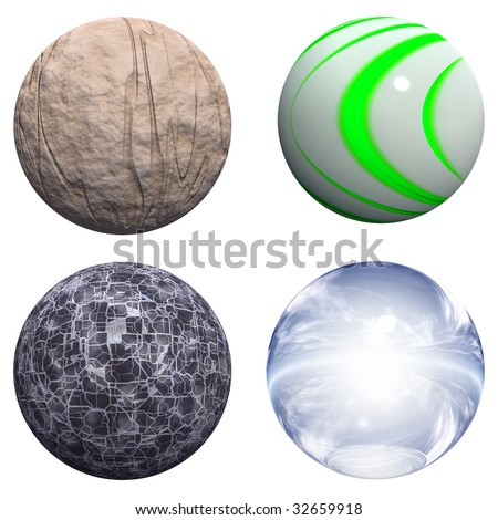 3d blue glass,stone and black spheres set or collection isolated on white,ideal for 3D symbols, web buttons or logo designs - stock photo