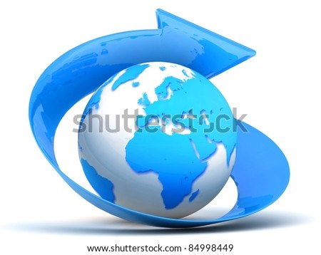 3d blue globe with arrow