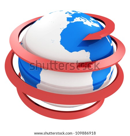 3d blue globe with spiral red  arrow