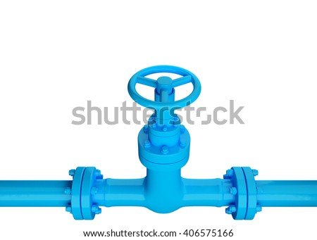 3D Blue Industrial Pipe and valve on white background. - stock photo