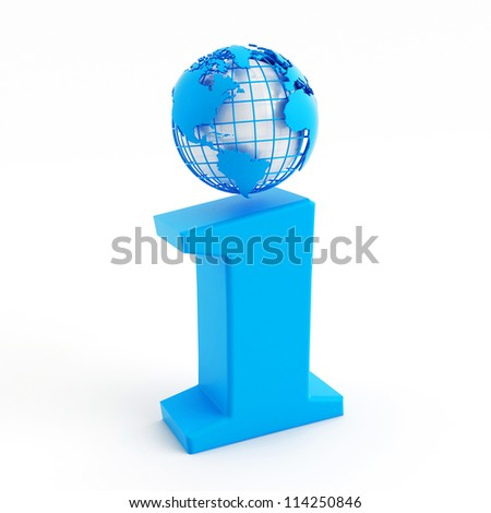 3d blue info icon with globe instead of dot - stock photo