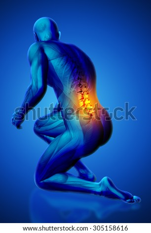 3D blue male medical figure with lower spine highlighted in kneeling position - stock photo