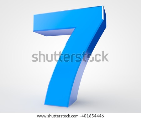 3d blue number 7 collection on white background illustration 3D rendering