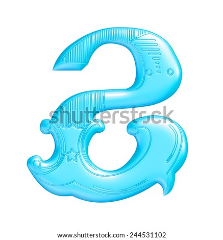 3D blue number 2 isolated on white background  - stock photo