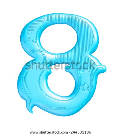 3D blue number 8 isolated on white background  - stock photo