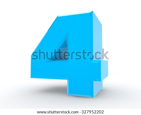 3d Blue number 4 on white background 3d rendering