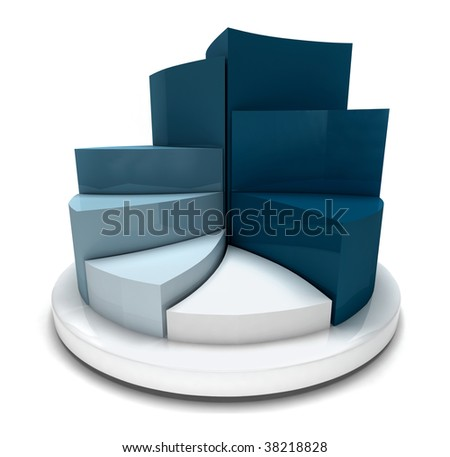3D blue pie chart isolated on white