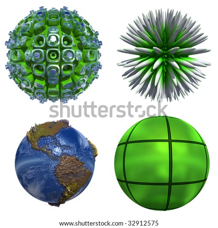 3d blue planet and green spheres se or collection isolated on white,ideal for 3D symbols or web buttons - stock photo