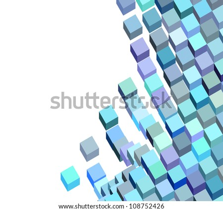 3d blue purple abstract fluid cube pattern on white - stock photo