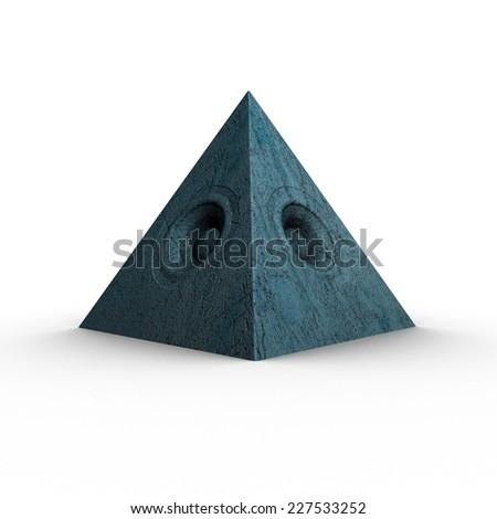 3d blue pyramid grunge old speaker sound system  - stock photo