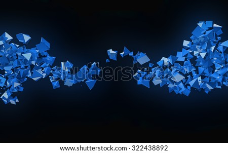 3D blue pyramids flow abstract background. - stock photo