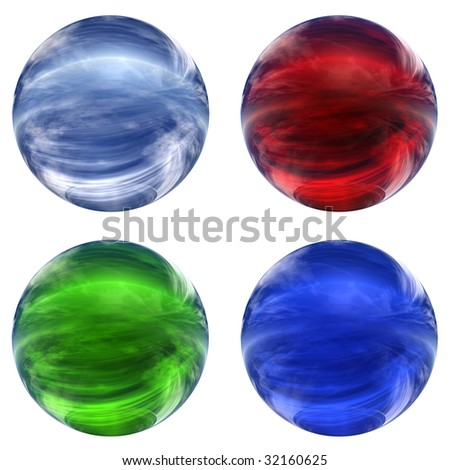 3d blue, red and green glass spheres collection isolated on white background,ideal for 3D symbols, signs or web buttons. It is a sphere reflecting a blue sky with clouds - stock photo