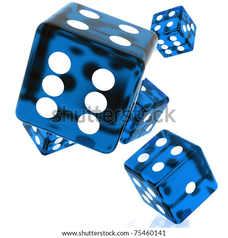 3D Blue rolling dice on white background - stock photo