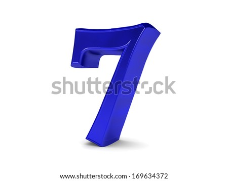3D blue set of numbers from 0 to 10. Digit 7.