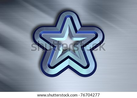 3D Blue Star on a Grey Background - stock photo