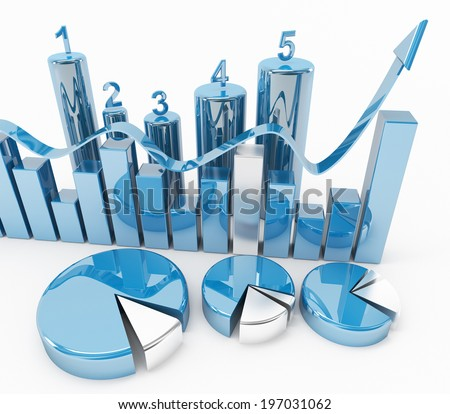 3d blue statistical graphics - stock photo