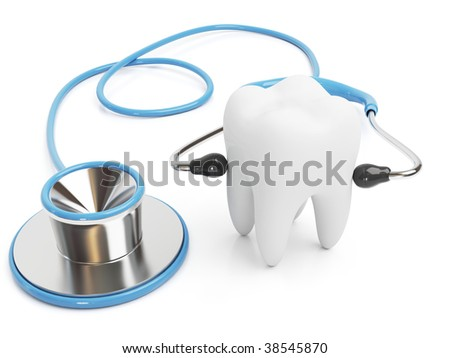 3d blue stethoscope isolated with a tooth on White Background - stock photo