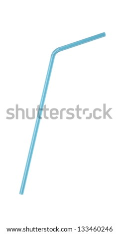 3D Blue Transparent  Drinking Straw Isolated on White - stock photo