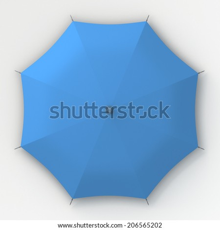 3D blue umbrella top view in isolated background with work paths, clipping paths included - stock photo